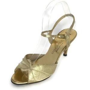 NEW ARRIVAL Vintage Gold Metallic Peep Toe Heel